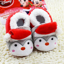 BS77 New Red Christmas Warm Toddler Shoes Baby Kids Soft Sole Crib Boots 0-18M