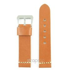 StrapsCo Tan Vintage Style Mens Thick Leather Watch Band Strap with Stitching