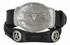 Mens State of Texas Longhorn Western Embossed Genuine Leather Cowboy Concho Belt