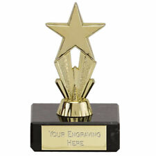 Budget Trophy  Award Mini Micro Star 8cm School Award Gold/Silver FREE ENGRAVING
