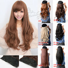 One Piece Clip in Synthetic Hair Extension Long Wavy Curly Straight Hair 5 Clips