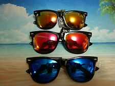 LARGE REVO MIRROR COLOR LENS LARGE WAYFARER STYLE SUNGLASSES BLACK FRAME