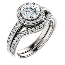 1ct Forever Brilliant Moissanite Solid 14K White Gold Halo Engagement Ring Set