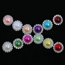 30x 15mm Charming Rhinestone Silver Tone Shank Pearl Round Button Sewing Craft