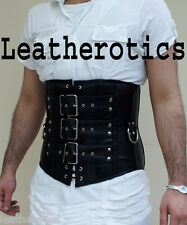 Black Underbust mens Leather corset Gothic tight lacing steel boned top tgs 1830