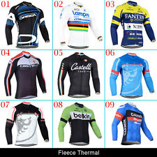 New Mens Road Team Thermal Fleece Winter Coat Cycling Clothes Long Sleeve Jersey