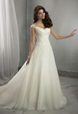 New Stock White/ivory Wedding dress Bridal Gown custom size 6-8-10-12-14-16