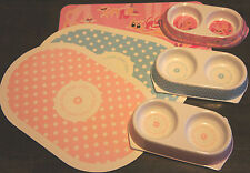 CAT KITTEN PUPPY SMALL DOG TWIN FOOD BOWL AND FEEDING MAT SETS ANCOL