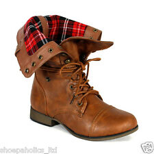 Plaid Cuff Lace Up Military Mid Calf Combat Boots TAN Size 5.5  to 10