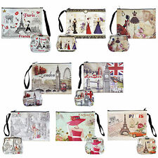 Digital Print Faux Leather Wallet Cosmetic Pouch and Coin Purse - 2pcs set
