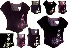 NWT $49 1001 Nights Vest Tops & Cap Sleeve Tops w/Floral Embroidery