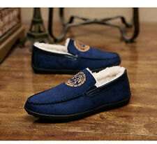 Mens fashion inside fleece winter warm Slip Ons Driving Moccasins Loafers shoes