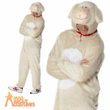 Adult Lamb Sheep Costume Mens Animal Farm Funny Fancy Dress Outfit New