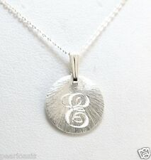 "14.5MM Round Monogram Script Initial Pendant w/Chain, 20"", 925 Sterling Silver"