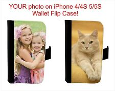 PERSONALIZED PHOTO WALLET FLIP CASE FOR IPHONE 4 4S 5 5S 5C 6 PICTURE CUSTOM