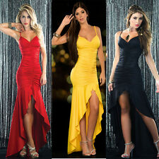 Women Occident Sexy Fold Sex Suspenders Long Dress Dinner Party Dresses 3 Color