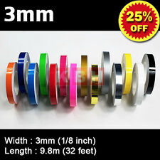 "1/8"" Pin Stripe Striping Tape Decals Sticker Vinyl tape Car Bicycle 3mm Single"