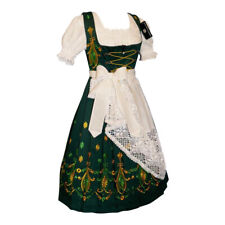 3 pc Long GREEN Bavarian German Swing Garden Sun Oktoberfest DIRNDL Party DRESS