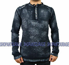 Affliction Weld A8631 New Men`s Long Sleeve Black Henley