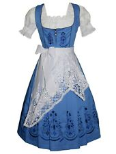 DIRNDL German Oktoberfest Dress EMBROIDERY 3pc Long BLUE Swing Waitress Party