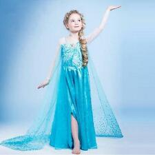 Mädchen Frozen Elsa Perlen Tüll Kleid Kostüm Cosplay Party Dress Eiskönigin #3