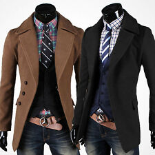 Mens Wool Coat Winter Jacket Long Trench Dress Tops Slim Fit Overcoat Rich Young