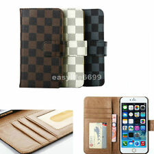 Luxury Checker Pattern Wallet Picture Leather Cover Case for iPhone 6 Plus 5S 5G