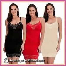 Body Shaper Dress With Lace Trim Thin Straps Nude or Black Size S M L XL 8-20