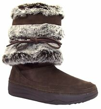 Skechers Tone Ups Chalet Snow White Suede Womens Boots Shoes Chocolate