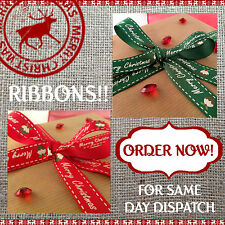 CHRISTMAS PUDDING RIBBONS Red or Green Berties Bows / Gift Wrapping - 5m to 25m