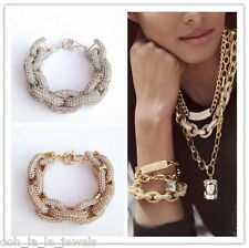 Glam Gold Silver Crystal Chunky Chain Link Designer Inspired Bangle Bracelet
