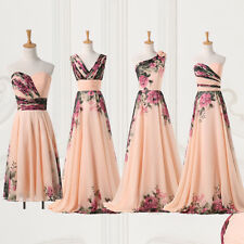 Elegant Mixed Chiffon Flower Printed Series Long Cheap Prom Pleats Party Dresses