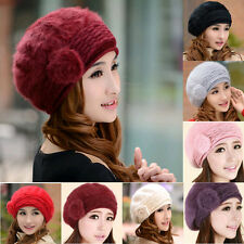 Fashion Women Winter Warm Rabbit Fur Hat Lady Beanie Cap Flower Beret