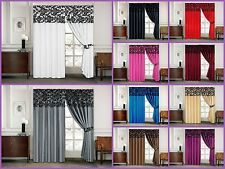 "Lisa Half Flock Curtains Damask Pencil Pleat Window 66"" x 72"" and 90"" x 90"""