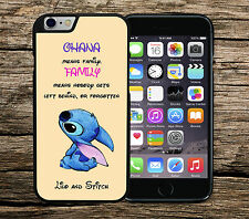 Disney Lilo and Stitch Ohana Means Family Quote Iphone 4/4s 5/5s 5c 6 & 6+ Case*