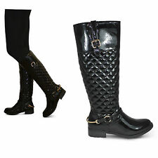 womens ladies new riding rider gold stirrup low block heel tall boots quilt size