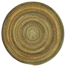Capel Rugs Eaton Wool Soft Chenille Braided Casual Country Round Rug #200 Green