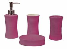 4Pc Ceramic Bathroom Accessory Set Soap Dish Dispenser Toothbrush Holder -Ribbed