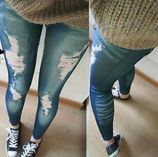 Women Stretchy Skinny Jeggings Vintage Distressed Tight Jeans Slim Pant Leggings