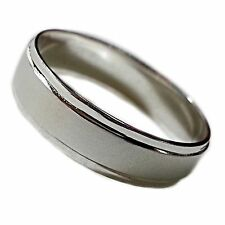 Men's Wedding Ring Band Eternity Brushed Classic White Gold Bonded 5mm New r536s