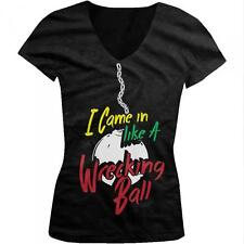 I Came In Like A Wrecking Ball Miley Funny Cyrus Parody Juniors V-neck T-shirt