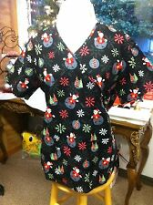Womens Holiday scrub top Santa Christmas tree Mock Rap NWT Dental Medical