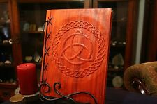 Lg Custom Wood & Leather Blank Journal, Diary, Book of Shadows - Triquetra