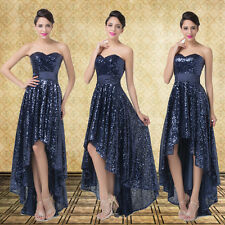 XMAS BLING SEQUINS Strapless High-Low Evening Party Debut Prom Bridesmaid Dress