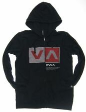 Free Shipping New RVCA Full-Zip Hoodie Mens Sweatshirt skate Black Fleece size M