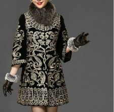 Womens Fashion Noble Luxury Embroidery Coat Velvet Trumpet Sleeve Loose Outwear