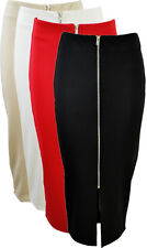 NEW WOMENS LADIES SMART BLACK RED WHITE STONE FRONT ZIP PENCIL SKIRT SIZE 8-14