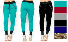 NEW Women's S M L COLORS Ankle Cuff Drawstring Jogger Pants Zipper Sweatpants