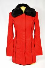 BEBE coat jacket red wool fur collar pipeing wool 202289