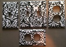 LIGHT SWITCH COVER PLATE - BLACK DAMASK ON WHITE - FAST SHIPPING!!  WOW!!